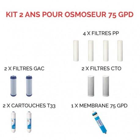 Kit d'entretien pour osmoseur à 75 GPD 2 ans