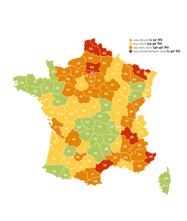 Carte de dureté en France
