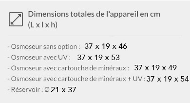 Dimensions des osmoseurs selon les options disponibles